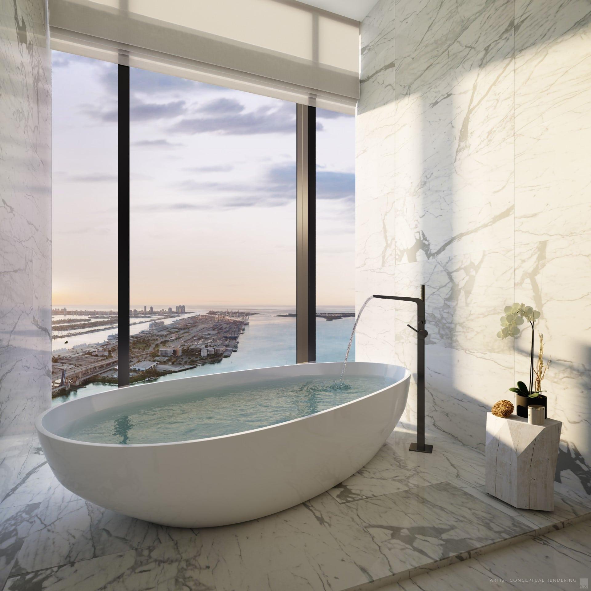 Bathroom interior at Waldorf Astoria Miami, rendering by ArX Solutions