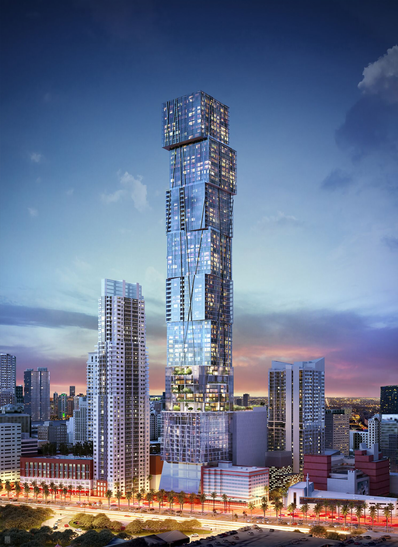 Eastern and northern elevations of Waldorf Astoria Miami, rendering by ArX Solutions