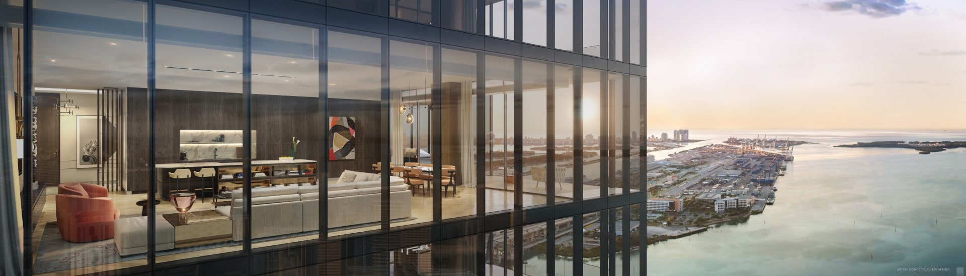 View of residential unit at Waldorf Astoria Miami, rendering by Bamo Interior Design