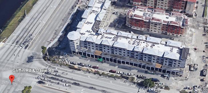 Aerial view of multi-purpose complex