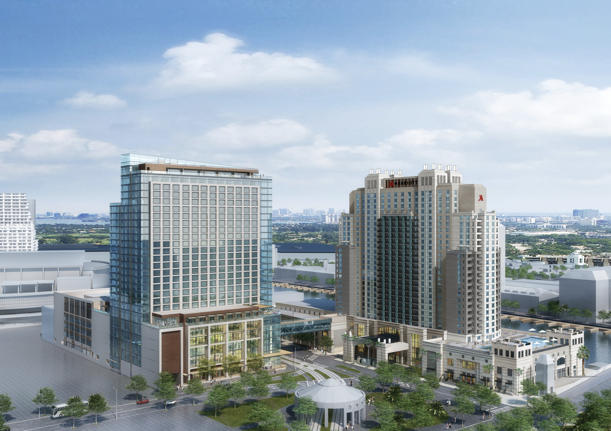 JW Marriot Tampa & Tampa Marriot Waterside. Courtesy of Strategic Property Partners.