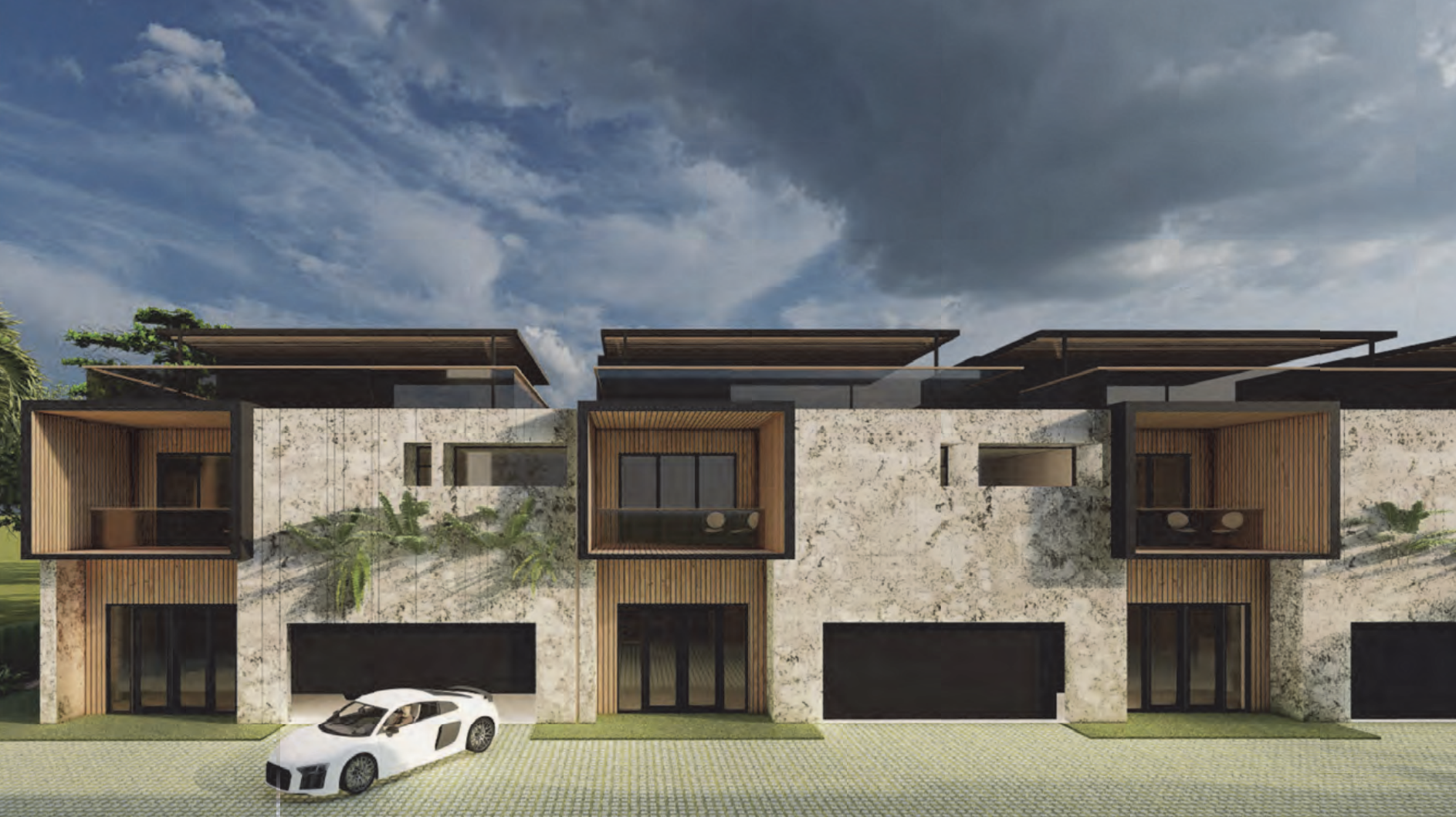 Private Street View at Esmonda Townhomes; Courtesy of FieldAgency Architecture.