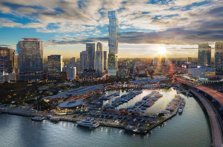 West-facing aerial view of Waldorf Astoria Miami, rendering courtesy by Property Markets Group