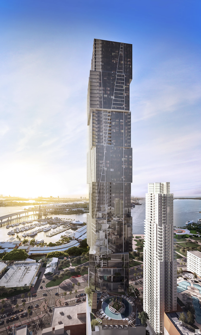 East-facing aerial view of Waldorf Astoria Miami, rendering by ArX Solutions