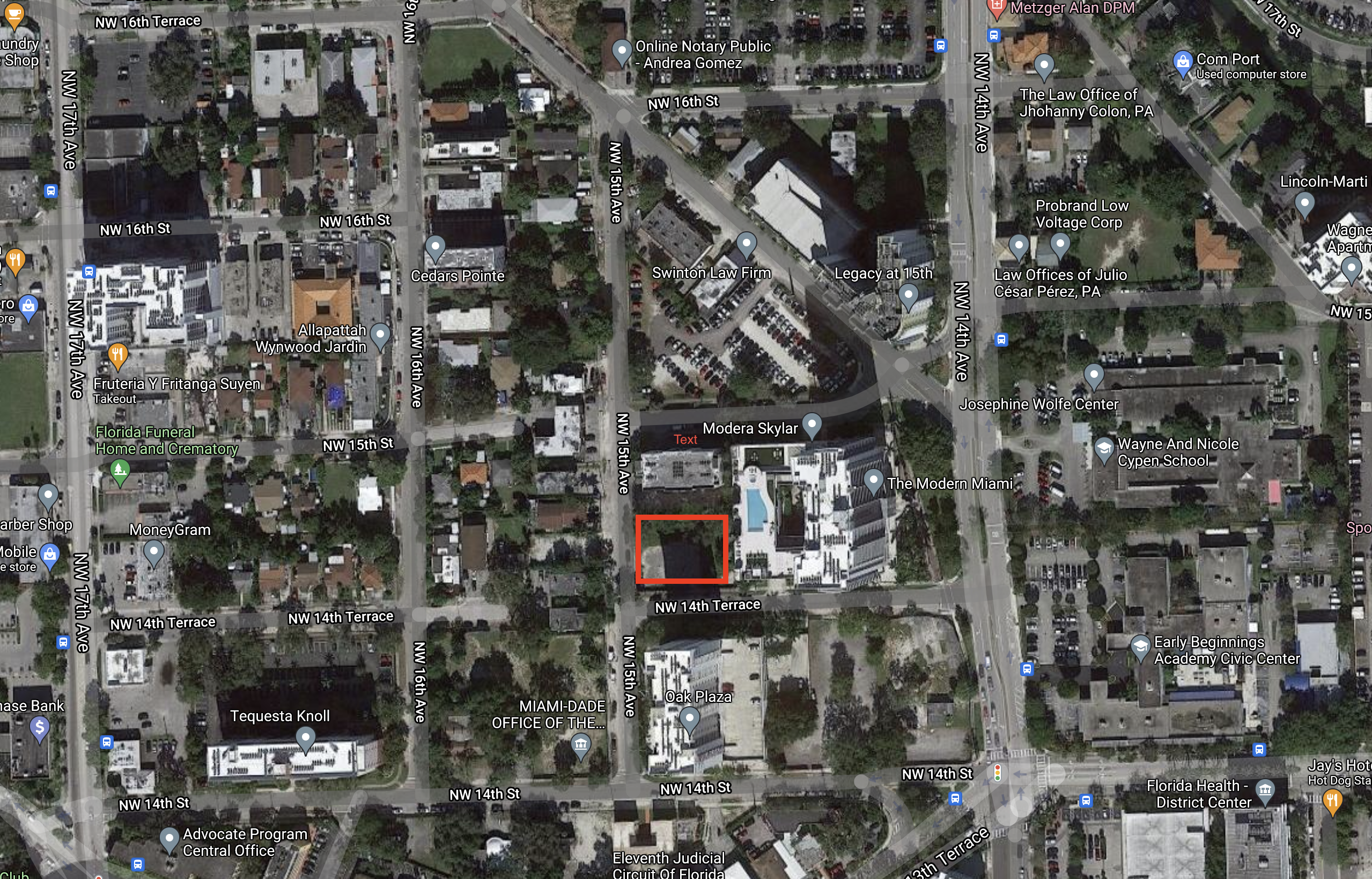Aerial view of 1445 NW 14th Terrace. Courtesy of Google Maps.