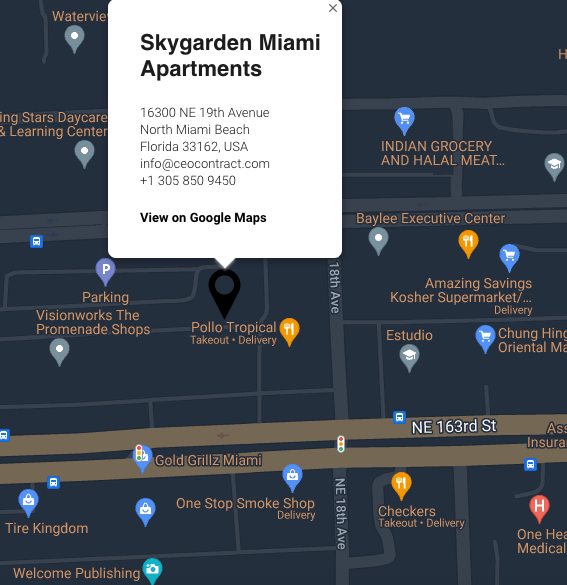 A map of the area; the building will be located in Miami-Dade County
