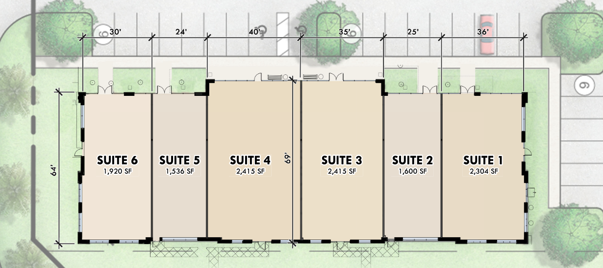 The office space will be divided into six suites