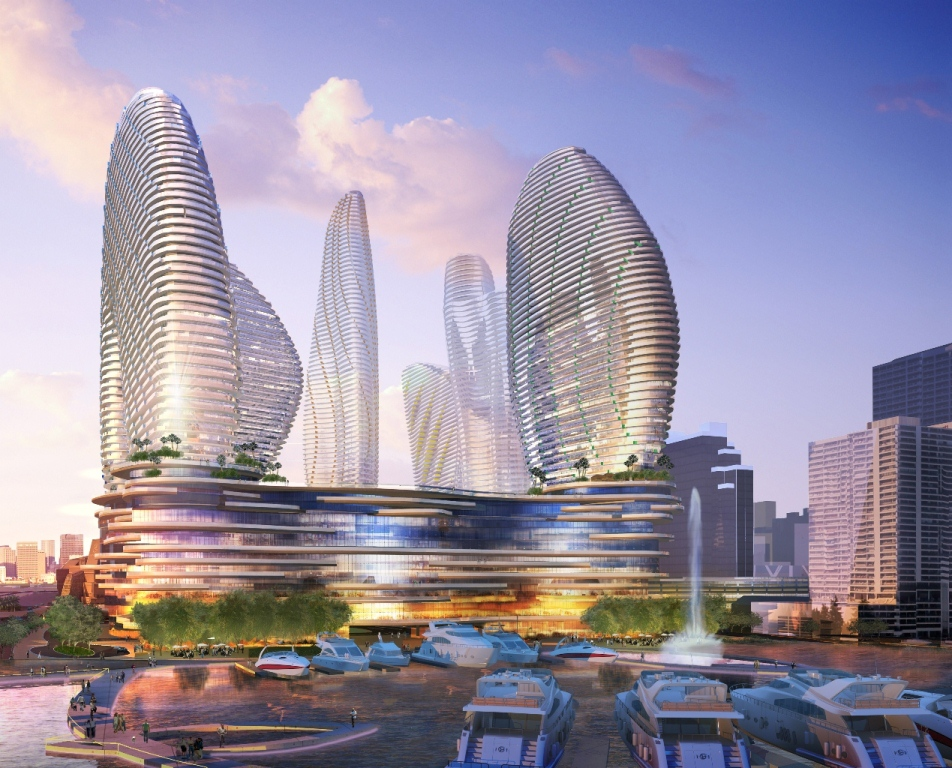 Former Rendering For Resorts World Miami. Designed by Arquitectonica.