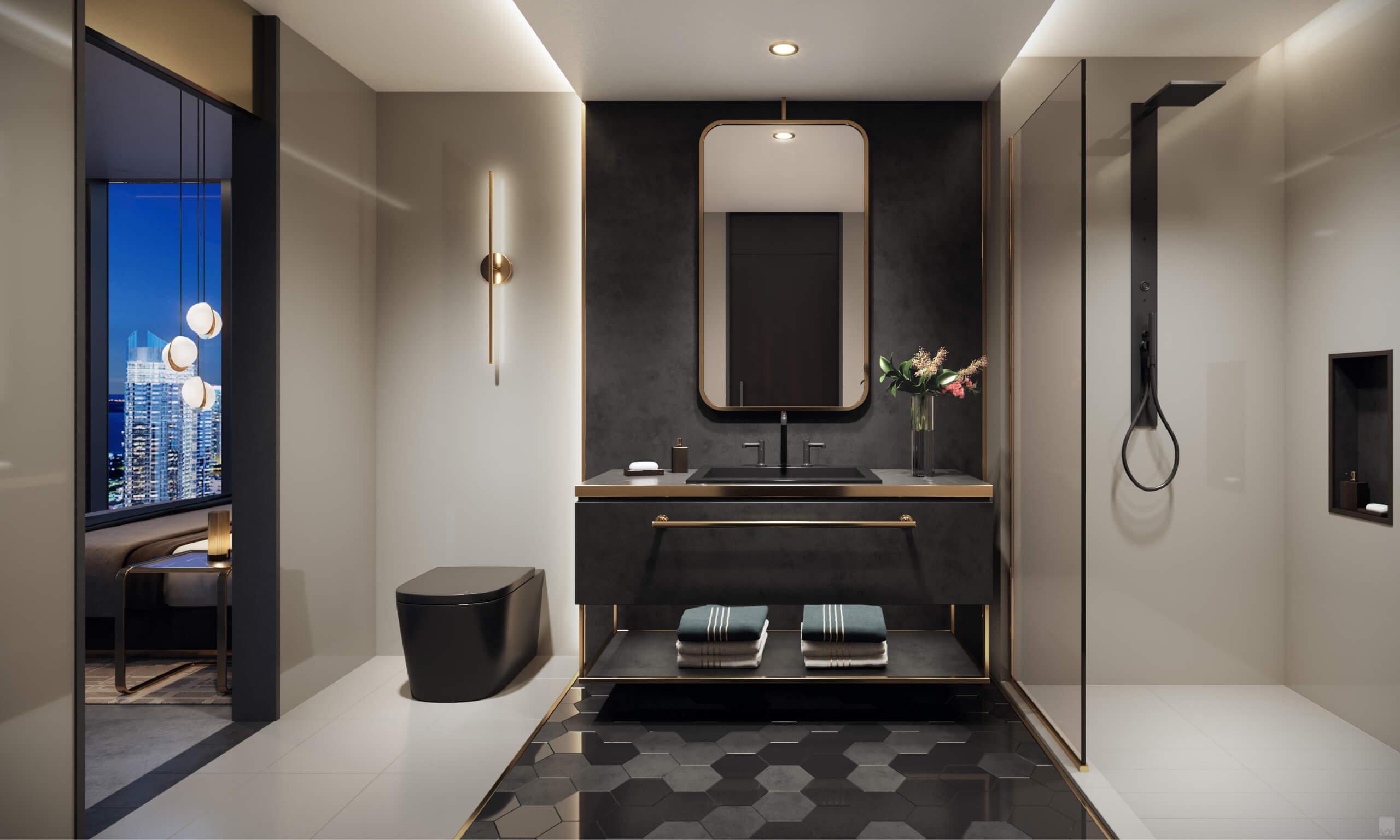 Bathroom. Designed by AvroKO Hospitality Group & Studio Ramirez.