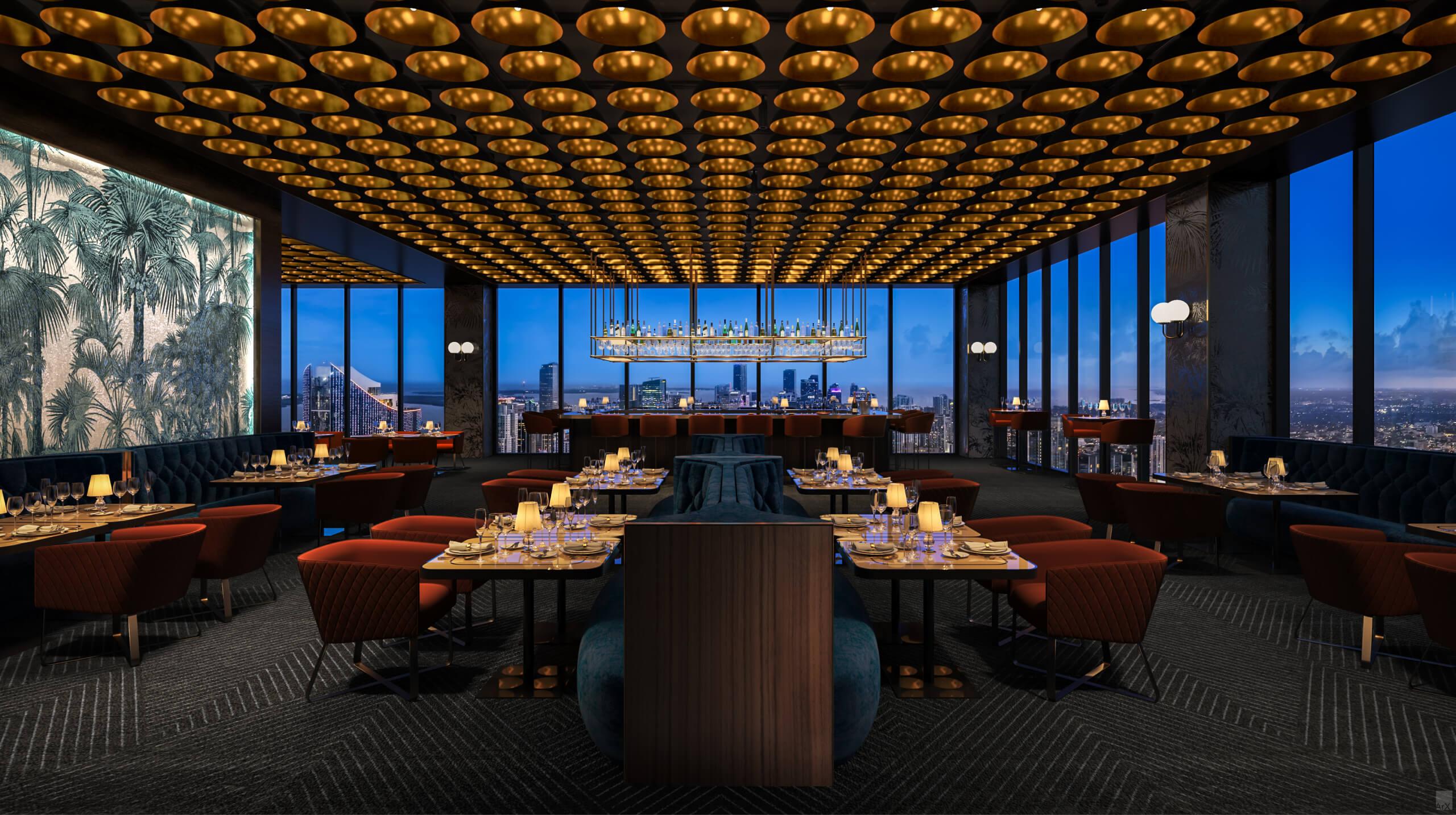 Restaurant. Designed by AvroKO Hospitality Group & Studio Ramirez.