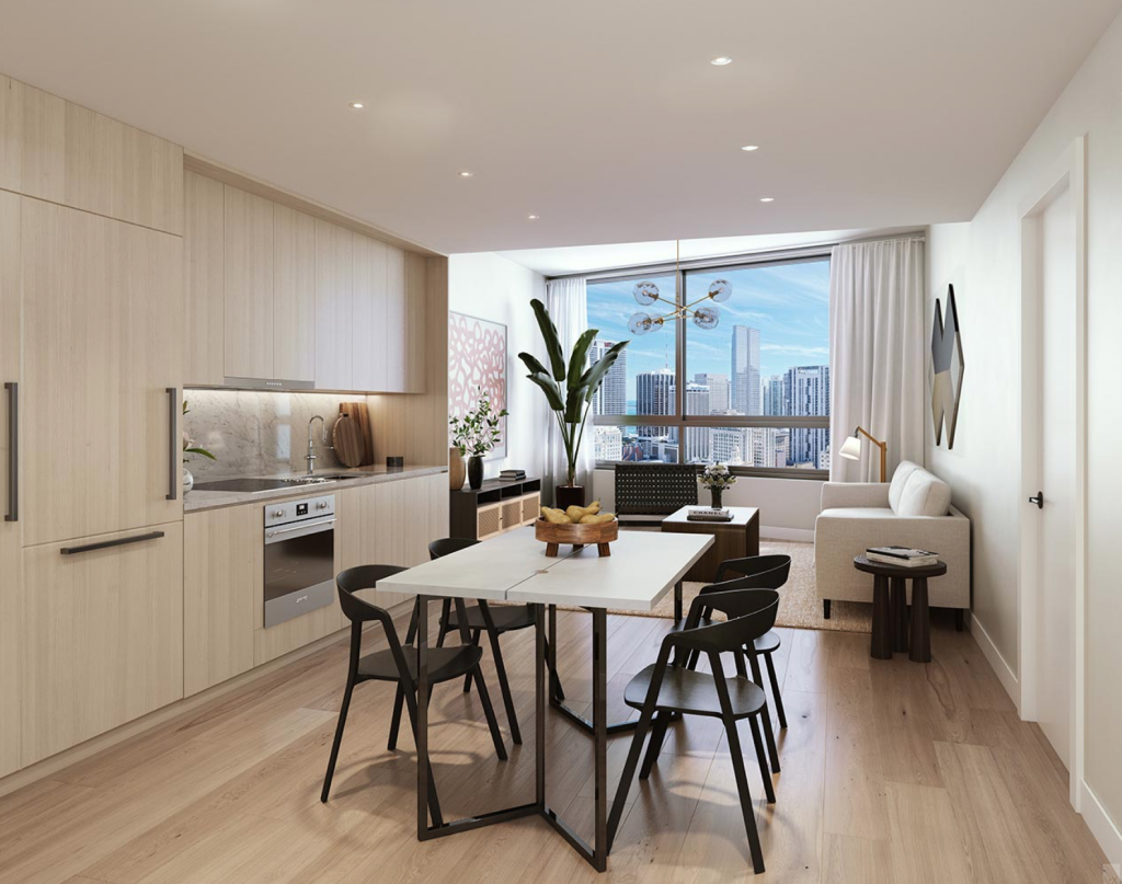 Interiors at The District. Designed by the Meshberg Group.