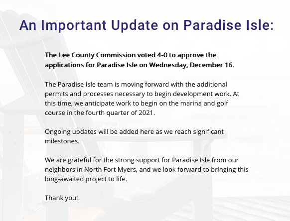 This message is currently on the Paradise Isles' website