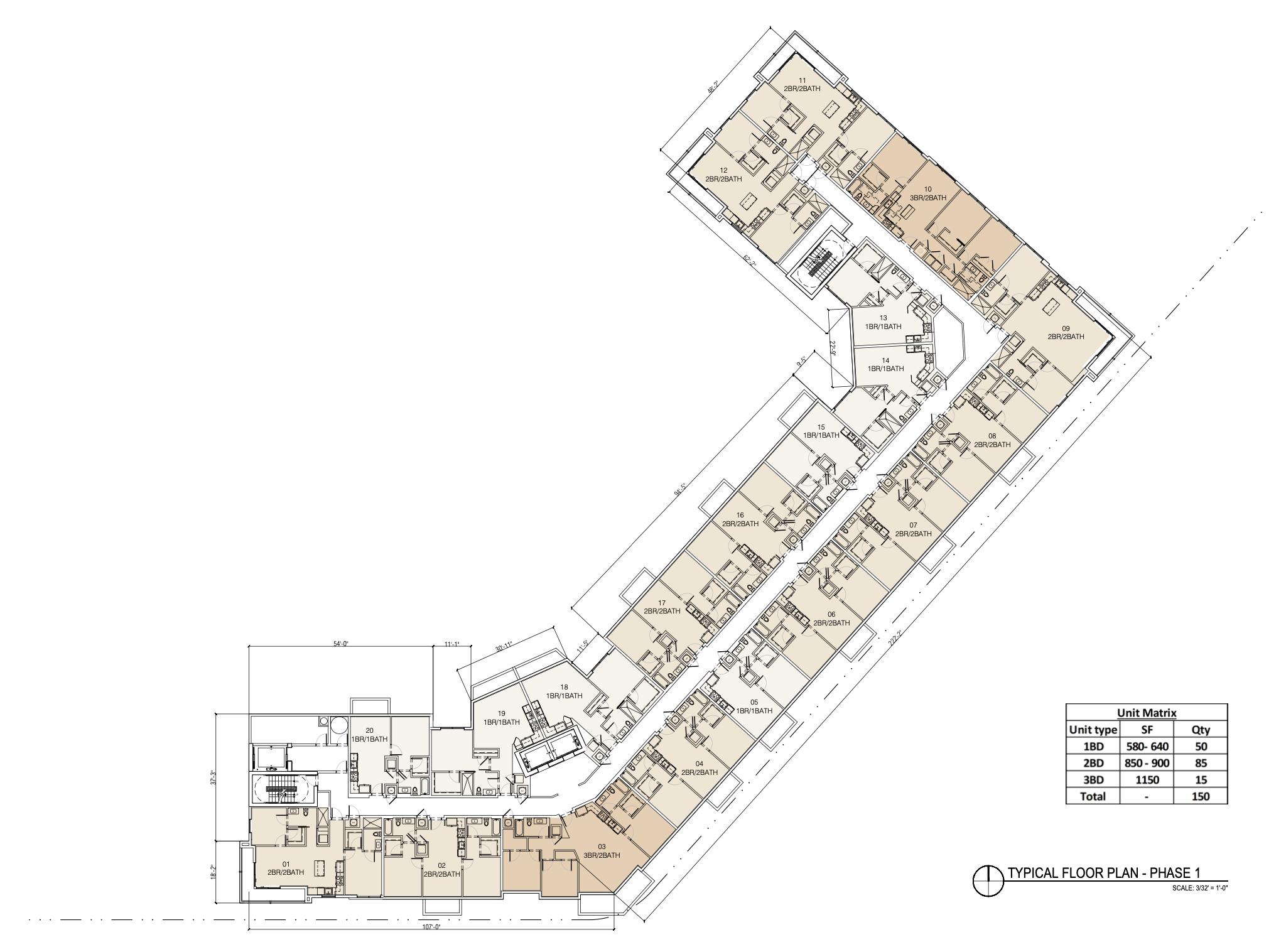 Typical Floor Plan. Designed by Behar Font & Partners.