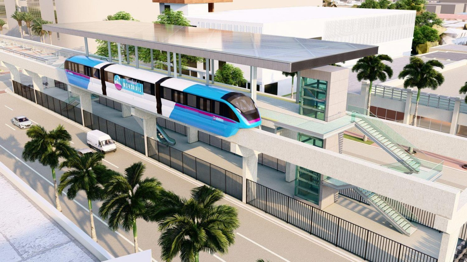 Rendering of the monorail station.